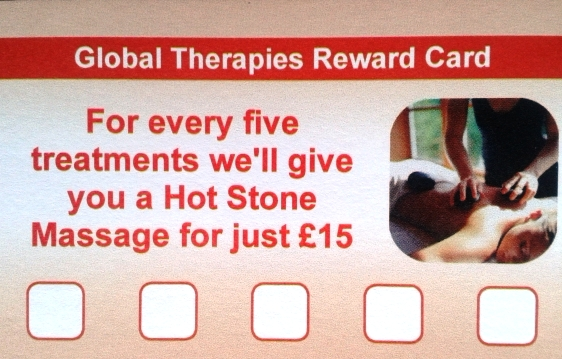 Global Therapies Sports Massage Physiotherapy reward loyalty card hot stone therapy