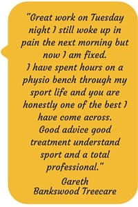 Great work on Tuesday night I still woke up in pain the next morning but now I am fixed. I have spent hours on a physio bench through my sport life and you are honestly one of the best I have come across. Good advice good treatment understand sport and a total professional. Gareth Bankswood Treecare